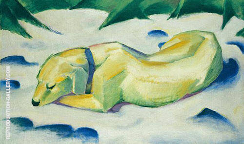 Dog Lying in the Snow Painting By Franz Marc - Reproduction Gallery