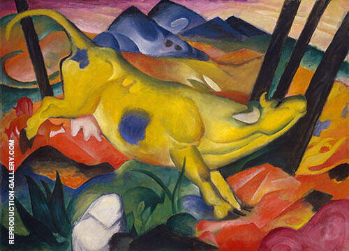The Yellow Cow By Franz Marc Replica Paintings on Canvas - Reproduction Gallery
