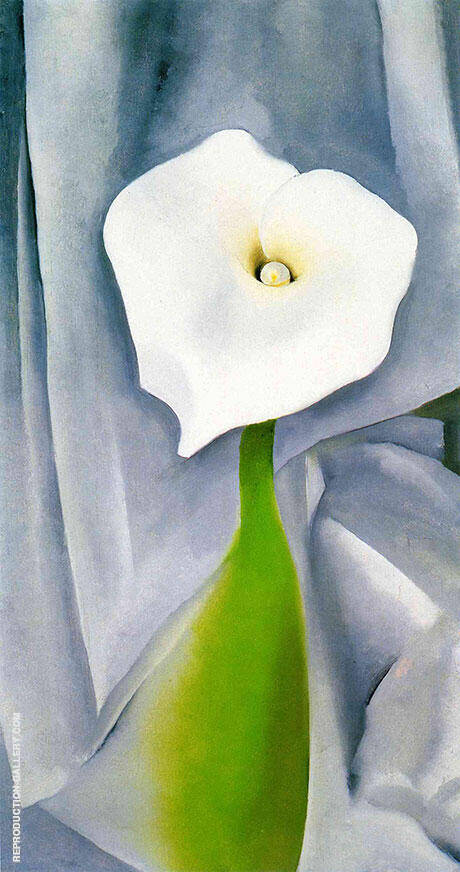 Cala Lily on Grey By Georgia O'Keeffe - Oil Paintings & Art Reproductions - Reproduction Gallery