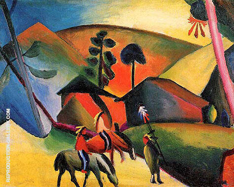 Indians on Horseback By August Macke - Oil Paintings & Art Reproductions - Reproduction Gallery