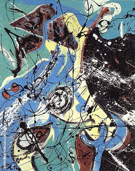 Composition mit blau By Jackson Pollock