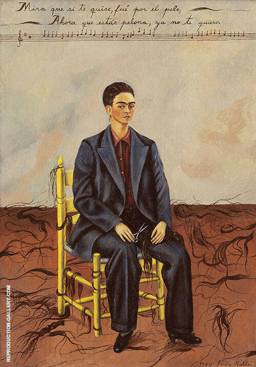 Reproduction of Self Portrait Cropped Hair 1940 by Frida Kahlo | Oil Painting Replica On CanvasReproduction Gallery