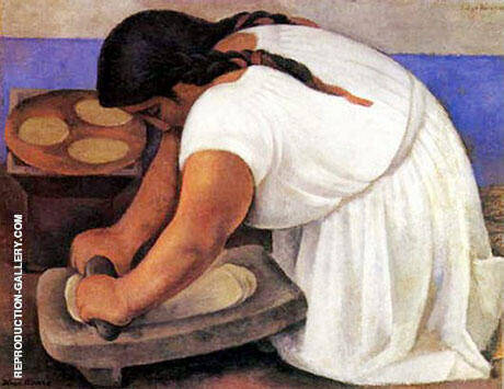The Corn Grinder By Diego Rivera - Oil Paintings & Art Reproductions - Reproduction Gallery