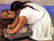 The Corn Grinder By Diego Rivera