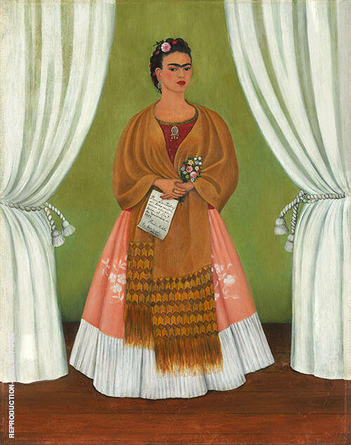 Self Portrait dedicated to Leon Trotsky By Frida Kahlo Replica Paintings on Canvas - Reproduction Gallery