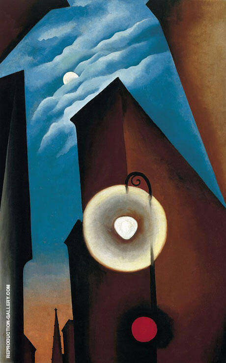 New York with Moon 1925 Painting By Georgia O'Keeffe