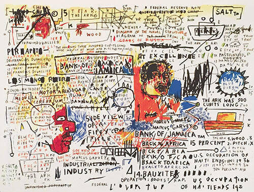 50c Piece 1982 Painting By Jean-Michel-Basquiat - Reproduction Gallery
