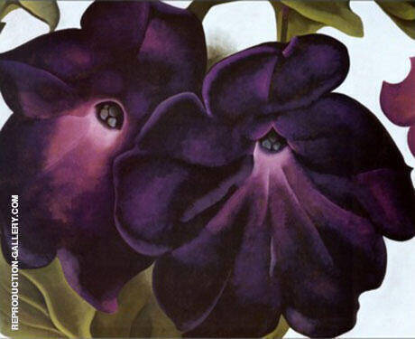 Black and Purple Petunias Painting By Georgia O'Keeffe