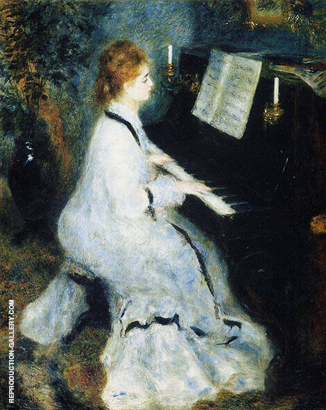 Lady at the Piano 1875 By Pierre Auguste Renoir - Oil Paintings, Reproduction Art
