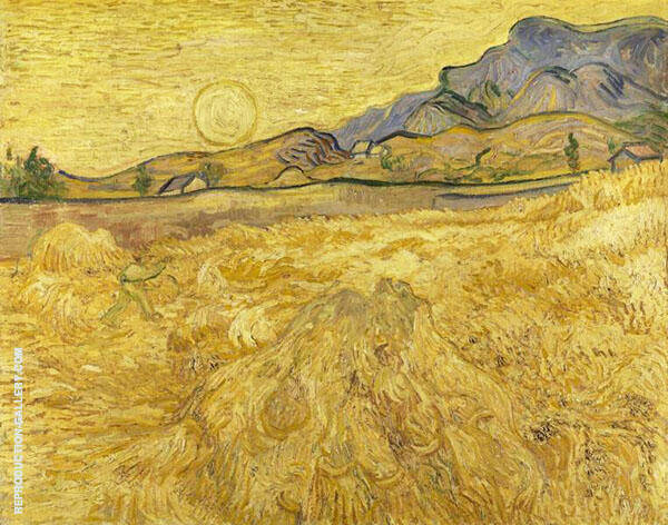Wheat Field with Reaper and Sun 1889 By Vincent van Gogh