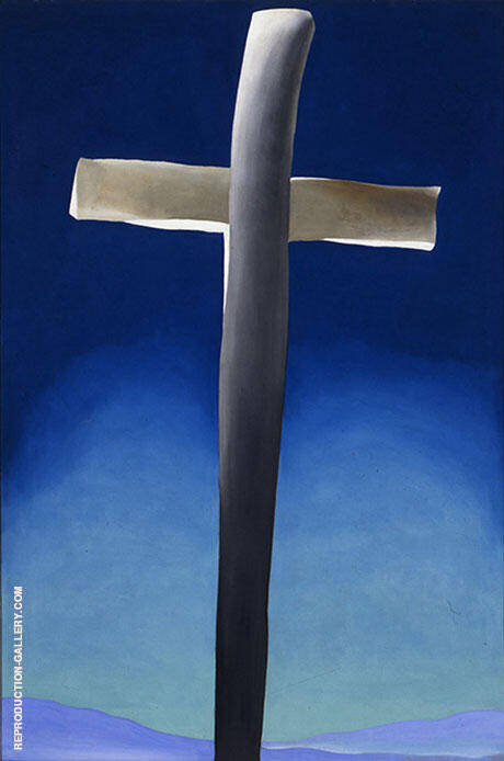 Grey Cross with Blue Painting By Georgia O'Keeffe - Reproduction Gallery