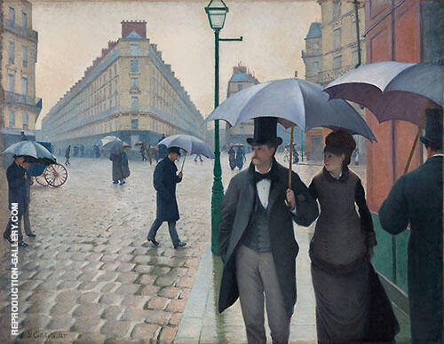 Paris Street Rainy Day 1877 By Gustave Caillebotte Replica Paintings on Canvas - Reproduction Gallery