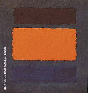 Untitled 1963 Brown Orange Blue on Maroon By Mark Rothko