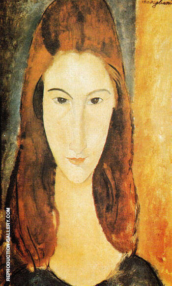 Portrait of Jeanne Hebuterne By Amedeo Modigliani - Oil Paintings & Art Reproductions - Reproduction Gallery