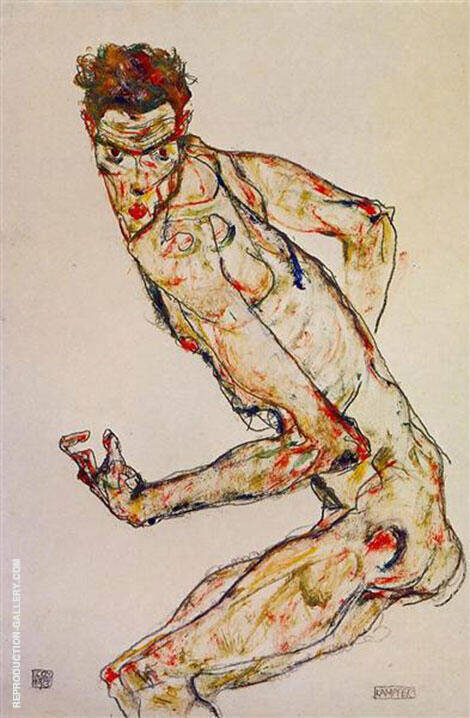 Reproduction of Fighter 1913 by Egon Schiele | Oil Painting Replica On CanvasReproduction Gallery