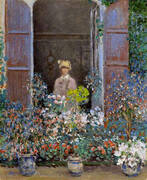 Camille Monet at the Window By Claude Monet