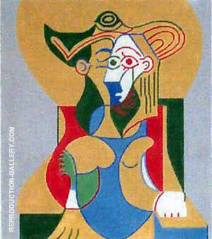 Seated Woman in Yellow and Green Hat By Pablo Picasso - Oil Paintings & Art Reproductions - Reproduction Gallery