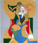 Seated Woman in Yellow and Green Hat By Pablo Picasso