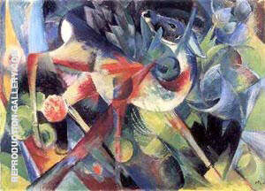 Deer in a Flower Garden Painting By Franz Marc - Reproduction Gallery