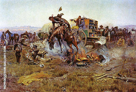 Camp Cook's Troubles By Charles M Russell - Oil Paintings & Art Reproductions - Reproduction Gallery