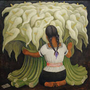 The Flower Vendor Girl with Lilies By Diego Rivera