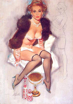 KEEPING WARM By Pin Ups - Oil Paintings & Art Reproductions - Reproduction Gallery