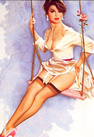 Reproduction of Rose on a Swing by Pin Ups | Oil Painting Replica On CanvasReproduction Gallery