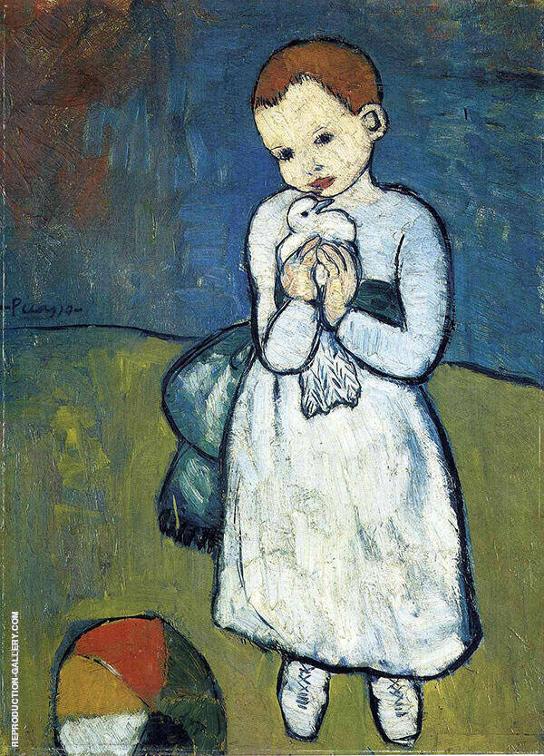 Child Holding a Dove 1901 Painting By Pablo Picasso - Reproduction Gallery