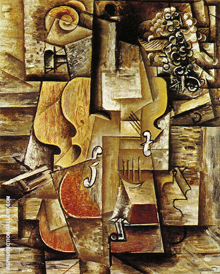 Violin and Grapes 1912 By Pablo Picasso Replica Paintings on Canvas - Reproduction Gallery