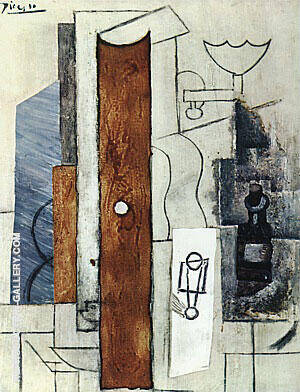 Guitar Gas-Jet and Bottle 1913 Painting By Pablo Picasso