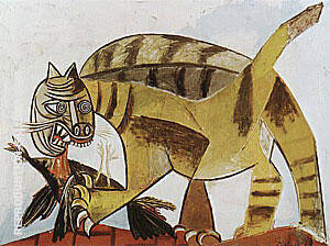 Cat Devouring a Bird 1939 By Pablo Picasso
