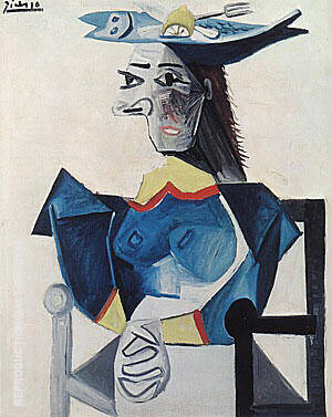 Woman in a Fish Hat 1942 Painting By Pablo Picasso - Reproduction Gallery