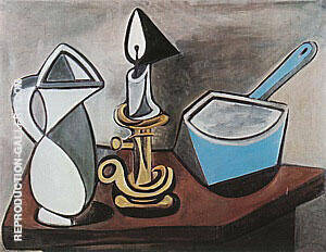 Pitcher, Candle and Casserole  1945 By Pablo Picasso - Oil Paintings & Art Reproductions - Reproduction Gallery
