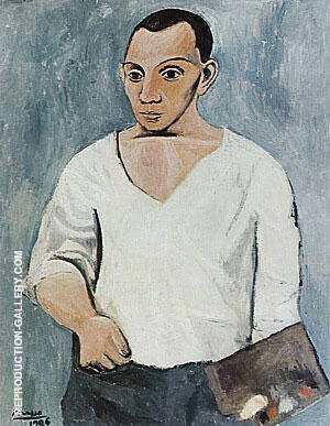 Self-Portrait with Palette  1906 By Pablo Picasso - Oil Paintings & Art Reproductions - Reproduction Gallery