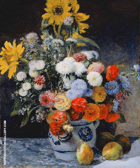 Mixed Flowers in Earthenware Pot 1896 By Pierre Auguste Renoir