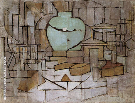 Still Life with Ginger Jar II By Piet Mondrian Replica Paintings on Canvas - Reproduction Gallery