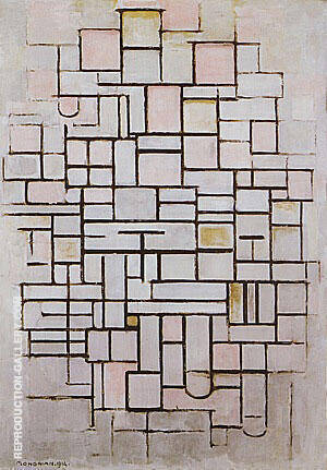 Composition No. 6 1914 By Piet Mondrian - Oil Paintings & Art Reproductions - Reproduction Gallery