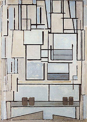Reproduction of Composition No. 9 Blue Facade by Piet Mondrian | Oil Painting Replica On CanvasReproduction Gallery