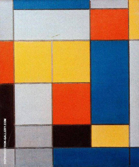 Composition with Red, Blue and Yellowish-Green 1920 By Piet Mondrian - Oil Paintings & Art Reproductions - Reproduction Gallery