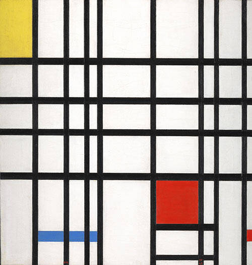 Composition with Red, Yellow and Blue Painting By Piet Mondrian