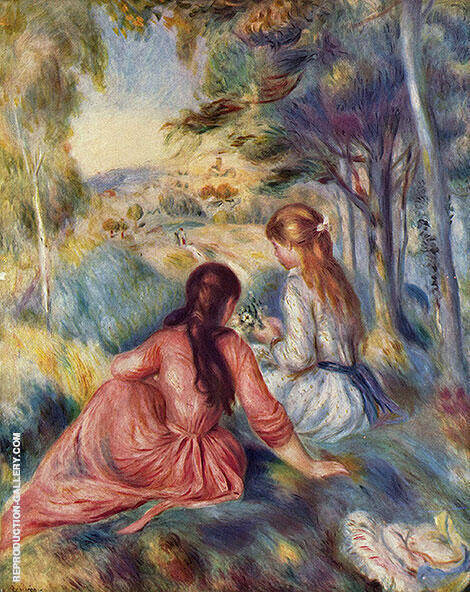 In the Meadow Painting By Pierre Auguste Renoir - Reproduction Gallery