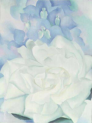 White Rose with Larkspur 1927 Painting By Georgia O'Keeffe