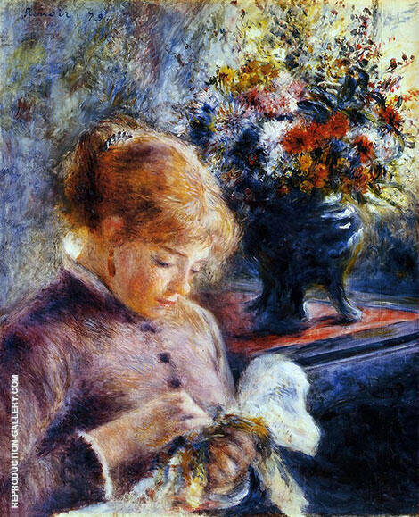 Lady Sewing 1879 By Pierre Auguste Renoir - Oil Paintings & Art Reproductions - Reproduction Gallery