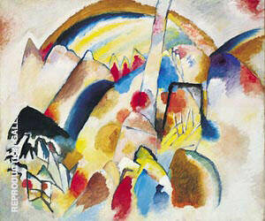 Landscape with 2 Red Spots 1913 By Wassily Kandinsky