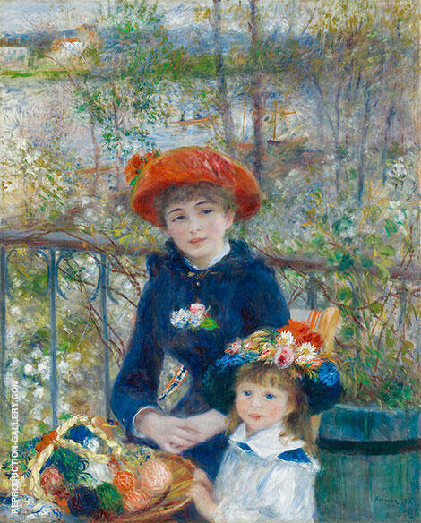 Two Sisters on the Terrace Painting By Pierre Auguste Renoir