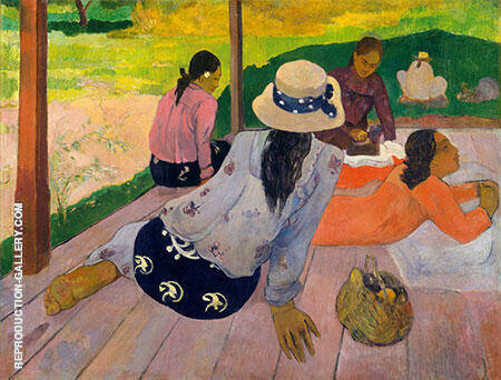 The Siesta Tahiti Painting By Paul Gauguin - Reproduction Gallery