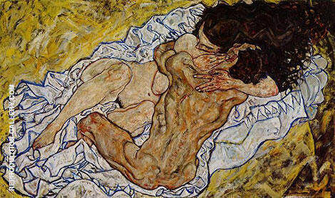 Embrace (Lovers II) 1917 Painting By Egon Schiele - Reproduction Gallery