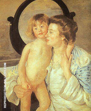 Reproduction of Mother and Child 1901 (Oval Mirror) by Mary Cassatt | Oil Painting Replica On CanvasReproduction Gallery