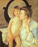Mother and Child 1901 (Oval Mirror) By Mary Cassatt