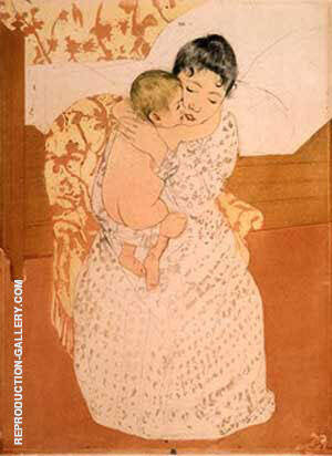 Mother's Caress By Mary Cassatt - Oil Paintings & Art Reproductions - Reproduction Gallery